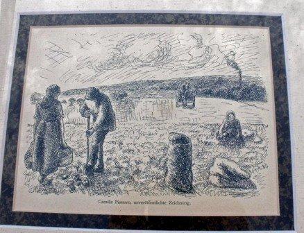 """17:  C. PISSARRO """"Paysans de la Village"""" 1906"""