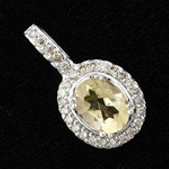 20: 3 ctw Citrine & Diamond Pendant in 10K White Gold