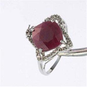 24: 4.64 ctw Genuine Ruby & Diamond 10K Gold Ring