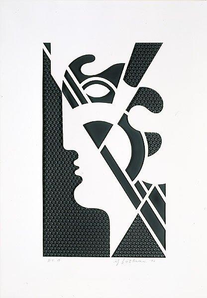 """74: Roy Lichtenstein """"Modern Head #5""""  Mixed Media PP"""
