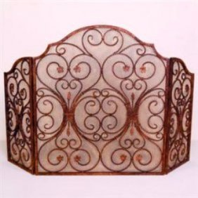 27: Provincial Fireplace Screen and Tool Set