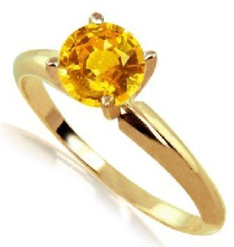 1 ct Orange Sapphire Solitaire Ring 14KY