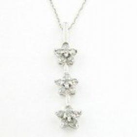 1/2ctw Diamond & 10K White Gold Star Necklace
