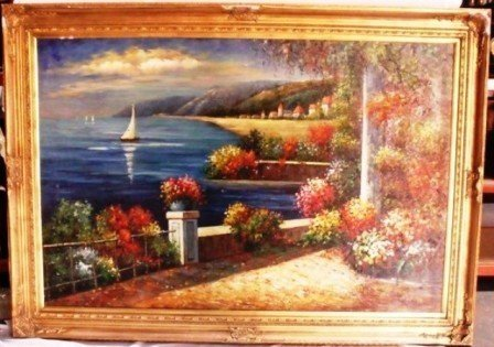 """Haman """"Ocean view"""" Signed Orig Oil on Canvas"""