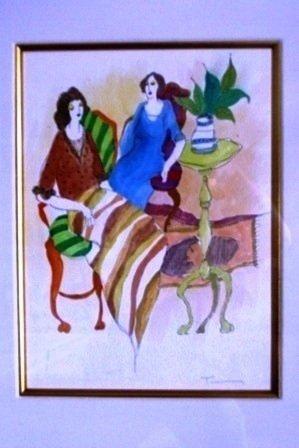 "Tarkay Original Watercolor ""Untitled"""