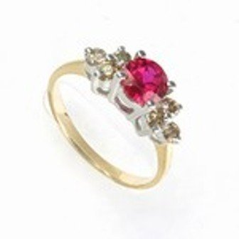 1 ctw Lab Created Ruby & Diamond 10K Gold Ring