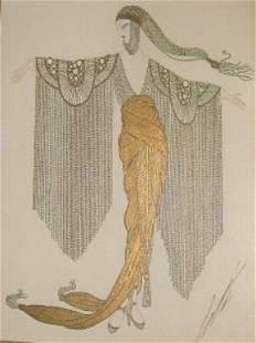 "ERTE' ""MILLIARDAIRES AMERICAINES"" GOUACHE 1917"