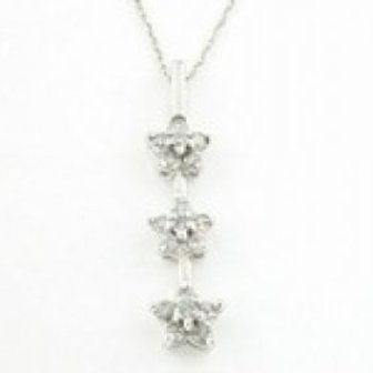 1/2ctw Diamond & 10K White Gold Star Necklace