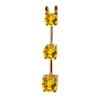 1 ct Twt Three Stone Yellow  Sapphire Pendant 14k Gold