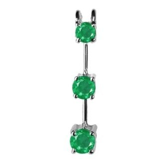 .50 ct Twt Three Stone Emerald Pendant 14 k Gold