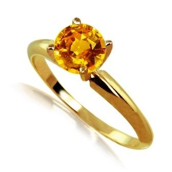 .50ct Orange Sapphire Solitare Ring 14Ky Gold