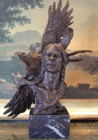 """""""NATIVE AMERICAN WITH EAGLE"""" BRONZE SCULPTURE"""
