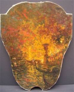 LOUIS ICART ORIGINAL OIL ON CANVAS VERY RARE SHIELD