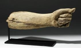 Rare Egyptian Carved Wooden Arm - XII Dynasty