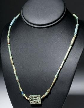 Egyptian Faience, Gold Bead Necklace w/ Royal Plaque
