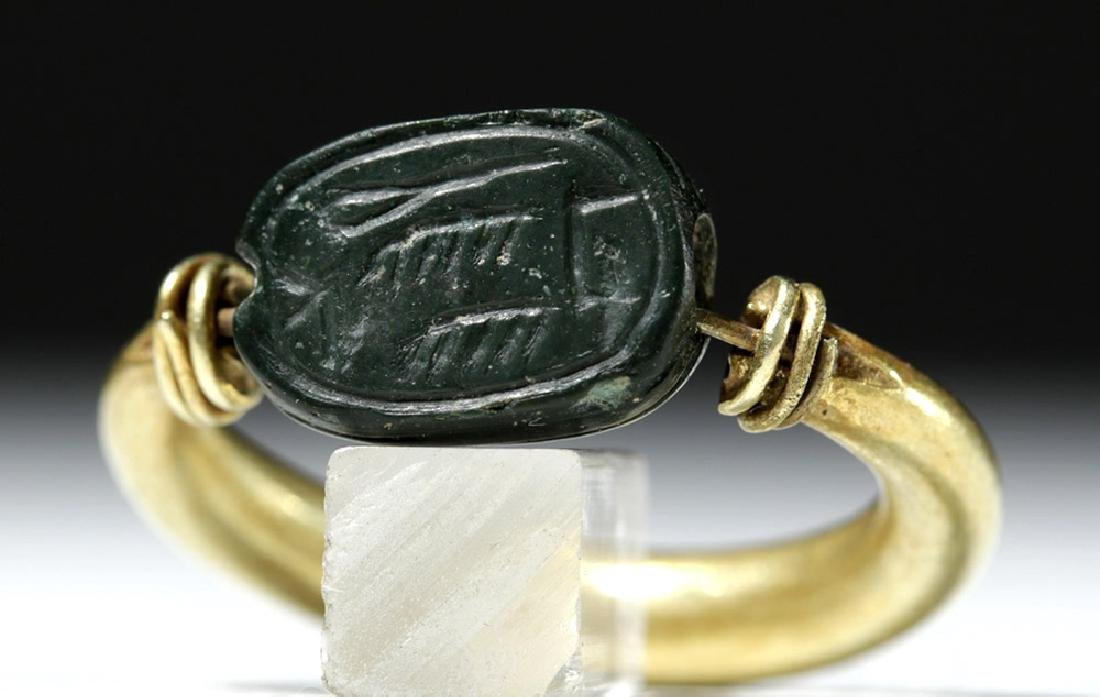 Egyptian Green Jasper Scarab / 16K Gold Swivel Ring