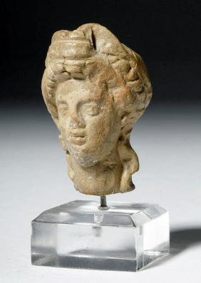 Ancient Greek Terracotta Head of a Goddess