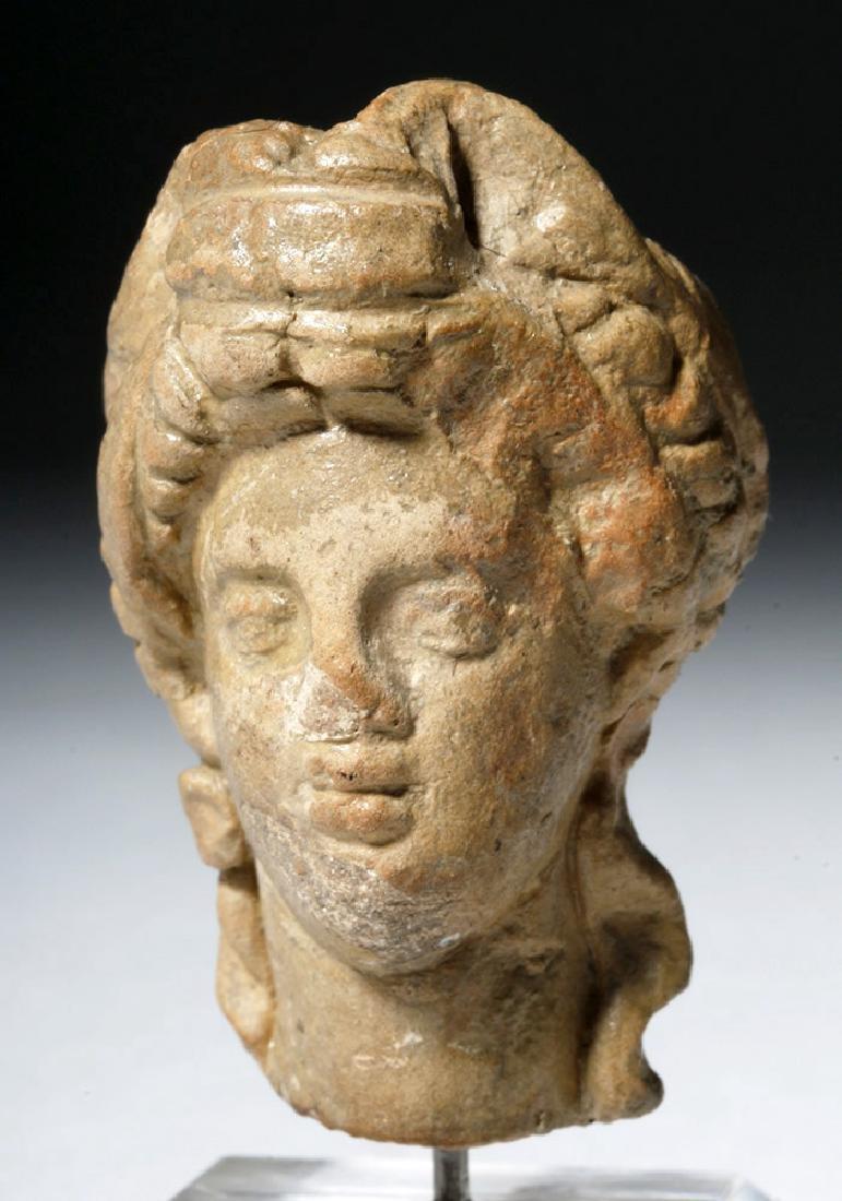 Ancient Greek Terracotta Head of a Goddess - 5