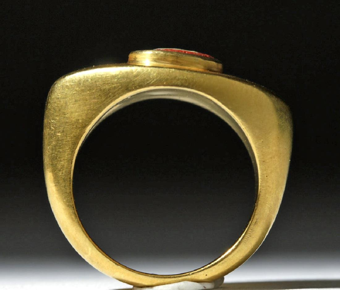 22K Gold Ring w/ Graeco-Roman Paste Glass Face Bead - 5