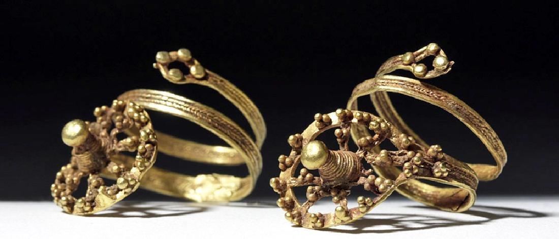 Roman 24K Gold Spiral Finger Rings (pr)
