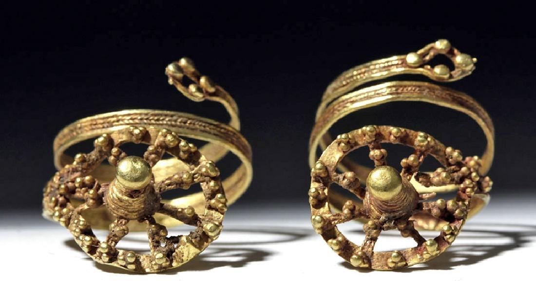 Roman 24K Gold Spiral Finger Rings (pr) - 2