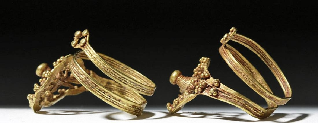 Roman 24K Gold Spiral Finger Rings (pr) - 3