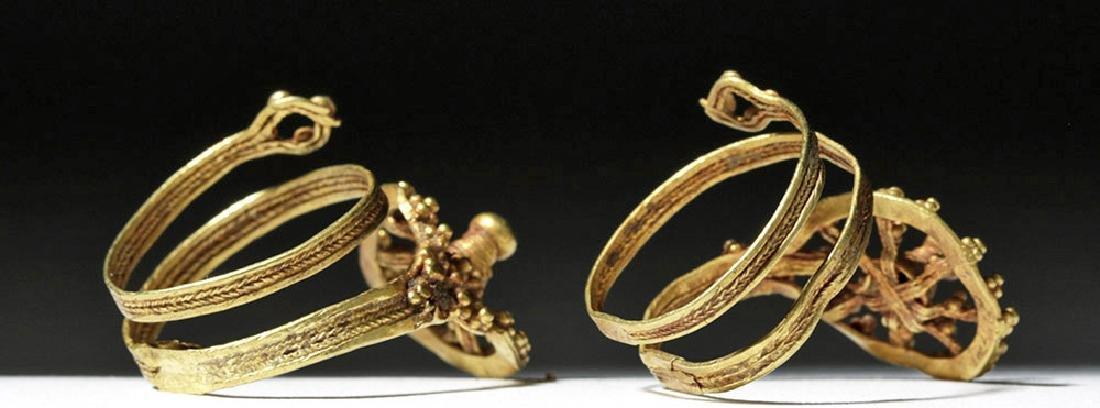 Roman 24K Gold Spiral Finger Rings (pr) - 4