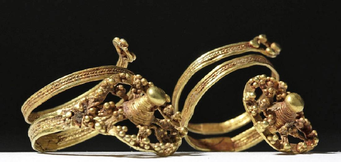 Roman 24K Gold Spiral Finger Rings (pr) - 5