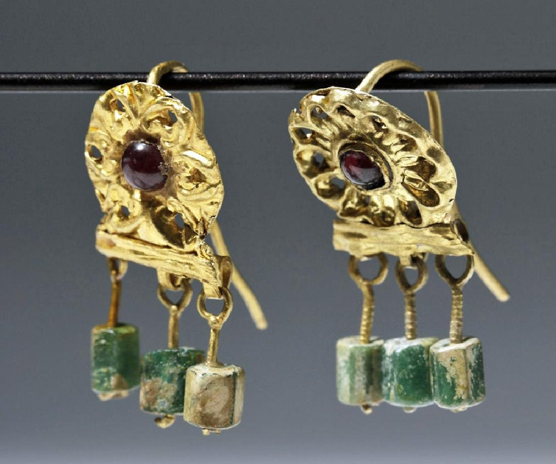 Ancient Roman 14K+ Gold , Glass & Garnet Earrings (pr) - 2