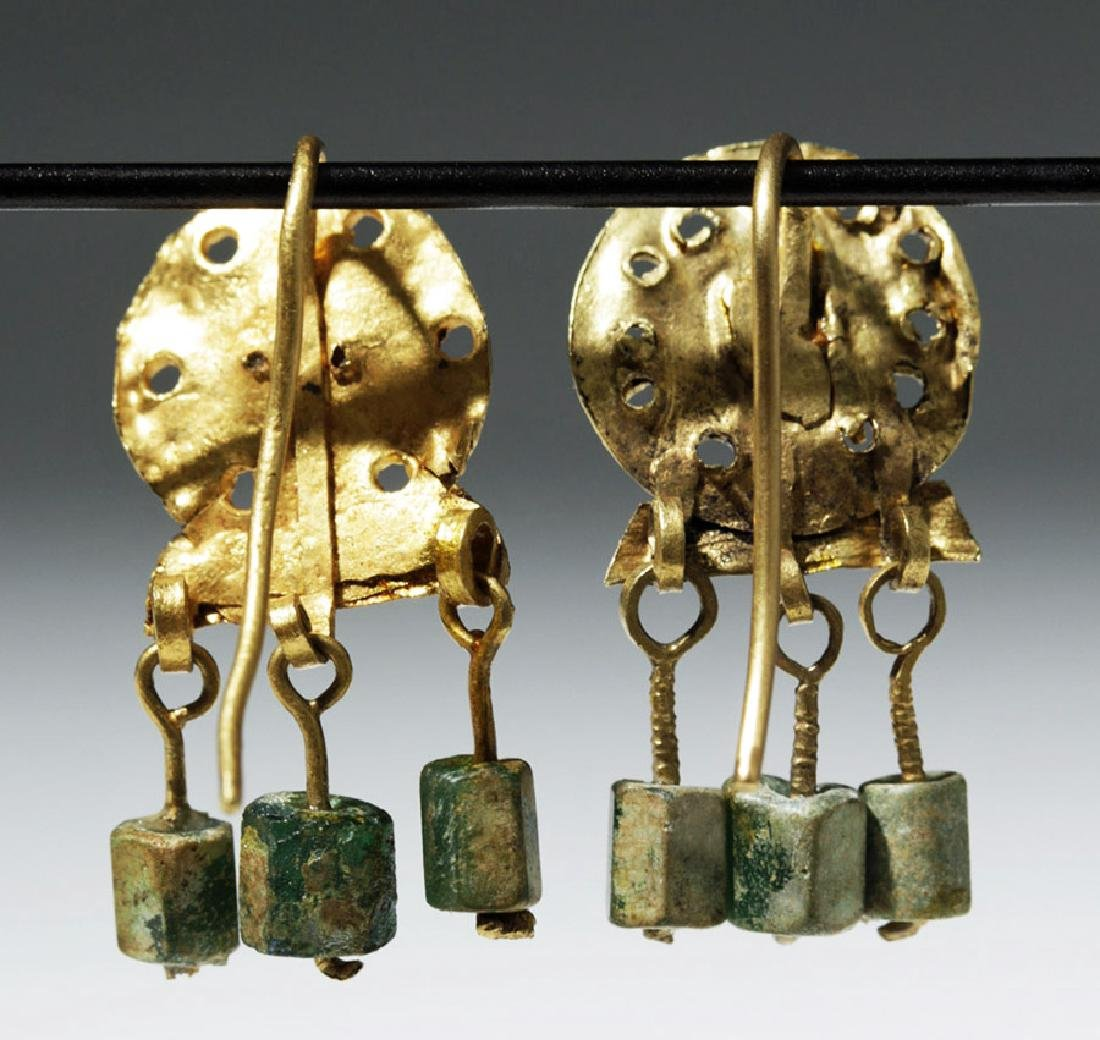 Ancient Roman 14K+ Gold , Glass & Garnet Earrings (pr) - 3