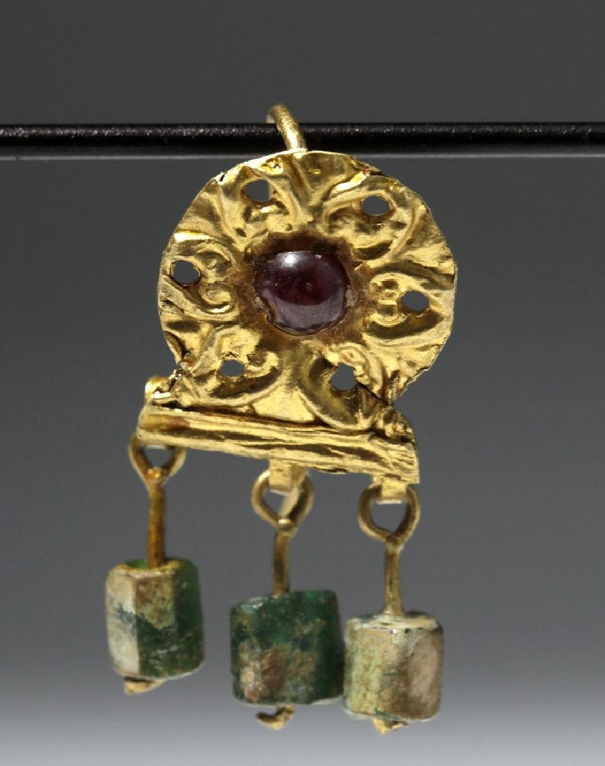 Ancient Roman 14K+ Gold , Glass & Garnet Earrings (pr) - 4
