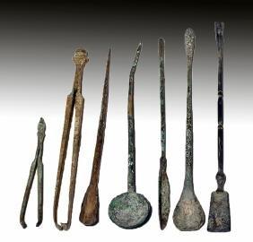 Lot of 7 Roman Bronze Medical Instruments