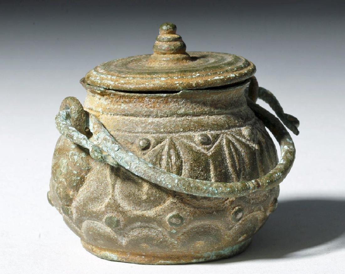 Roman Bronze Lidded Jar / Makeup Pot - 4