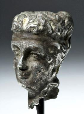 Roman Imperial Silver Head of Woman