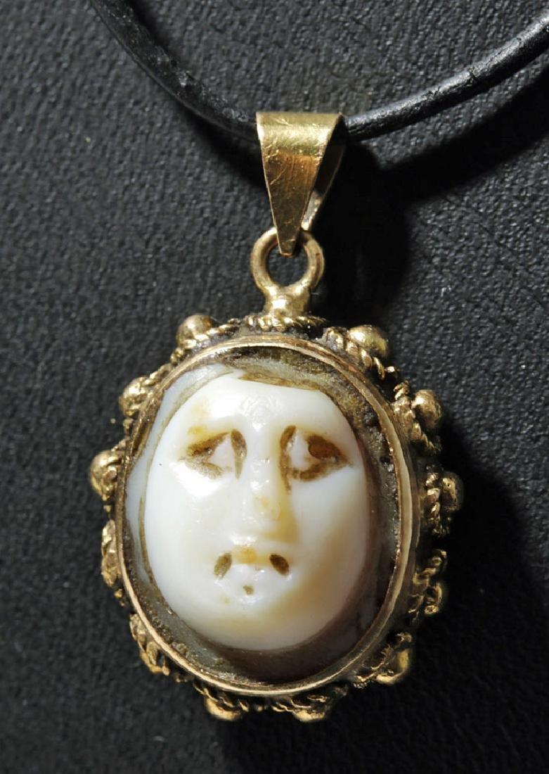 Ancient Roman White Stone Cameo / 18 K Gold Pendant
