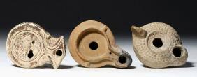 Lot of 3 Roman Terracotta Oil Lamps