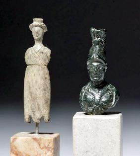 Roman Bronze Bust of Athena + Roman Lead Doll