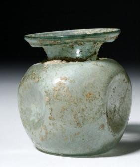 Roman Glass Vessel - Indented Sides