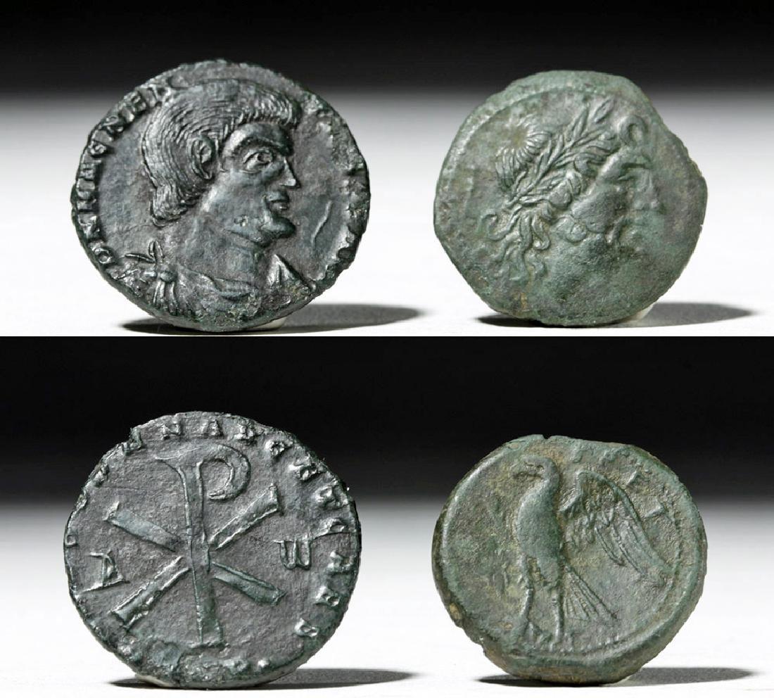 Pair of Roman Bronze Coins - Bruttium + Magnentius