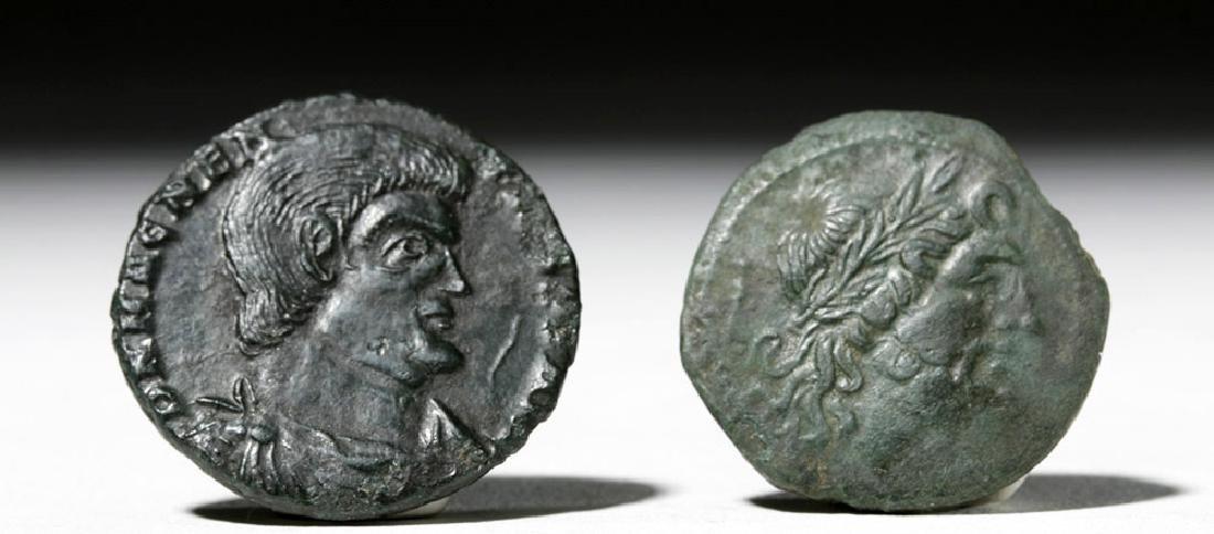 Pair of Roman Bronze Coins - Bruttium + Magnentius - 2