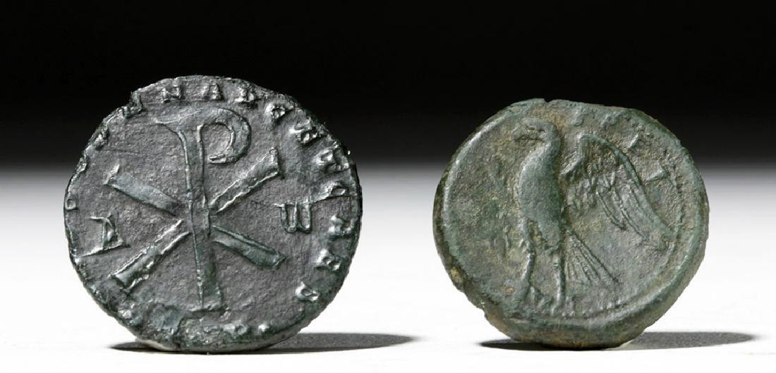 Pair of Roman Bronze Coins - Bruttium + Magnentius - 3