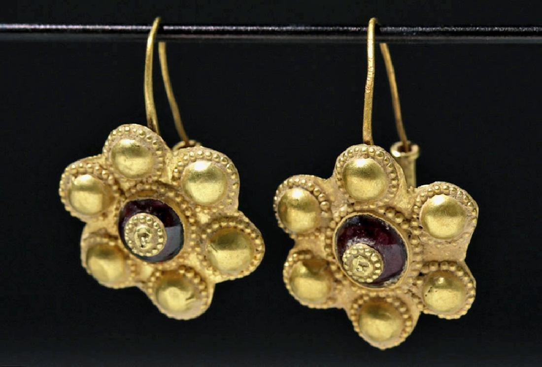 Roman 22K Gold Earrings w/ Cabochon Garnets (pr)