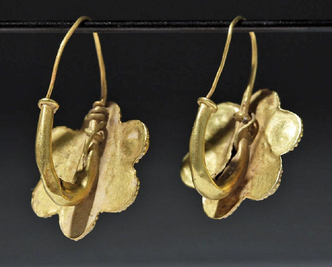 Roman 22K Gold Earrings w/ Cabochon Garnets (pr) - 2