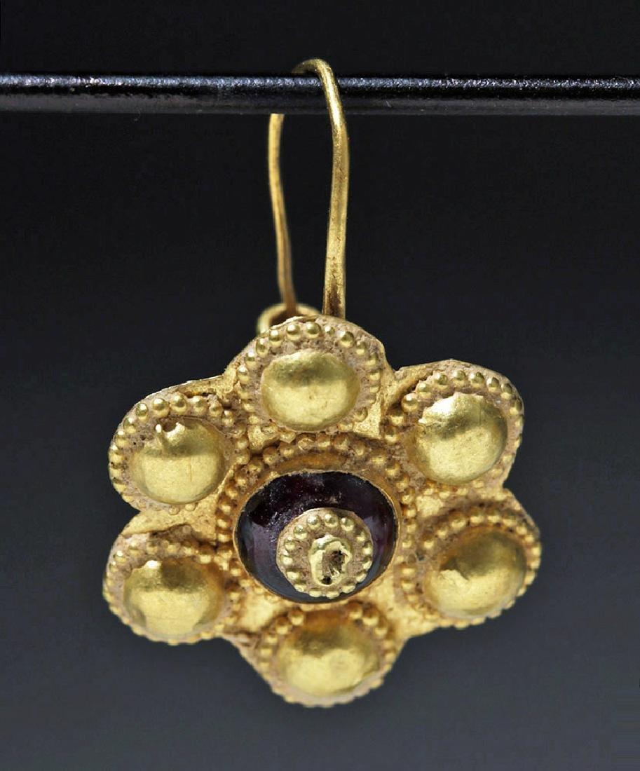 Roman 22K Gold Earrings w/ Cabochon Garnets (pr) - 3
