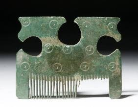 Viking Bronze Comb with Stylized Horses