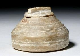 Caananite Alabaster Lidded Pyxis from the Levant