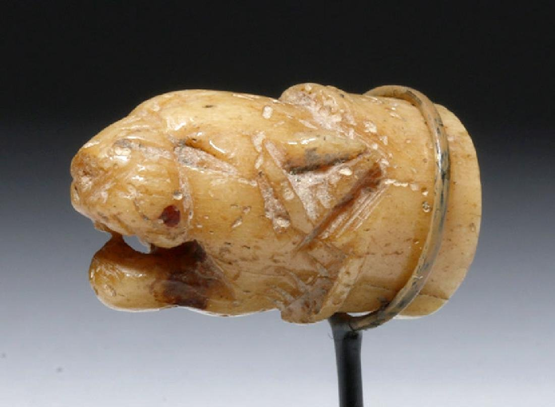 6th C. Near Eastern Carved Stone Head of Lion