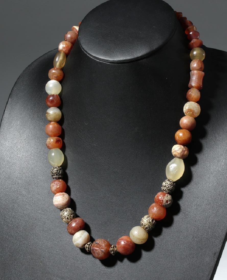 Custom Necklace w/ Ancient Carnelian, Quartz Beads