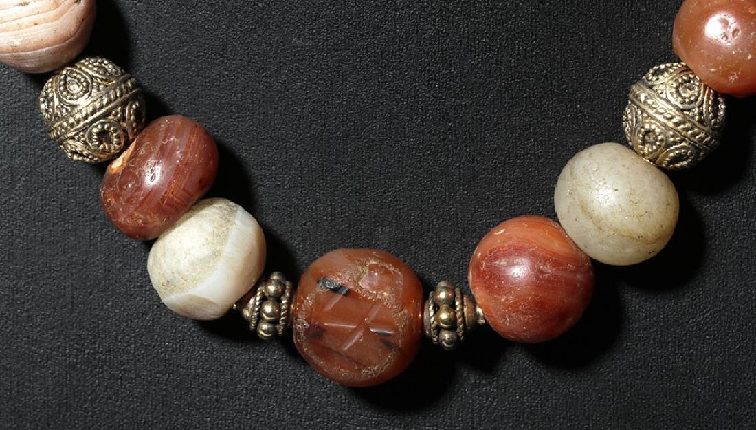 Custom Necklace w/ Ancient Carnelian, Quartz Beads - 2