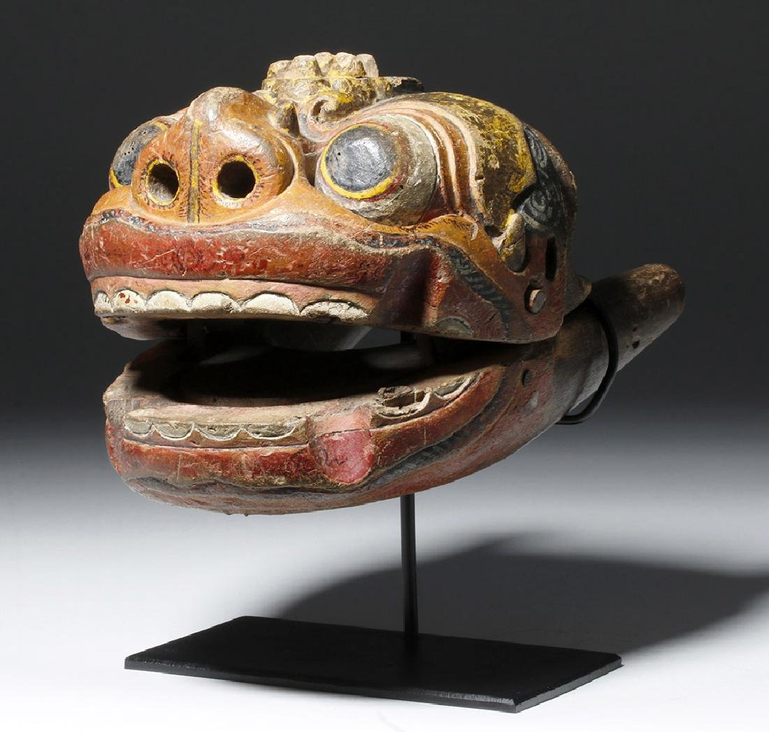 18th C. Indonesian Painted Wood Puppet, Hinged Mouth